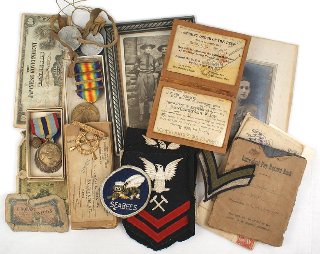 Lot U.S. Army WWI Navy WWII dog tags Medal etc