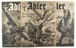 Lot of 3 German WWII 1940 editions of Der Adler