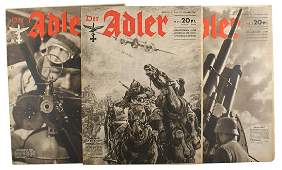 Lot of 3 different 1941 editions of Der Adler