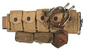 US WWI lot COMPASS spurs belt etc