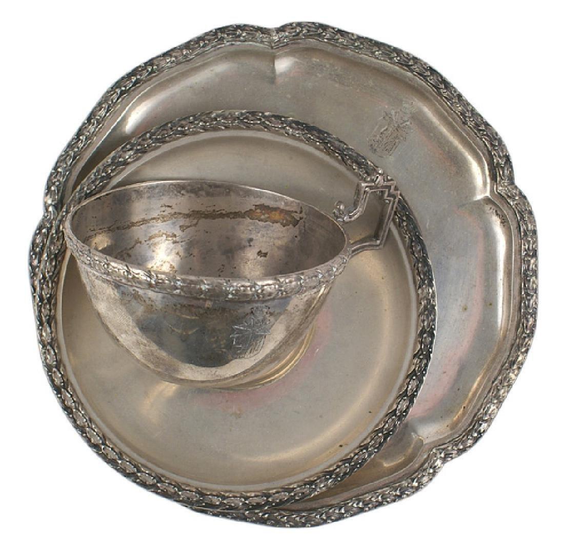 Red Baron von Richthofen silver cup saucer set - Jun 17