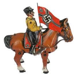 German WWII wind-up toy SS standard bearer