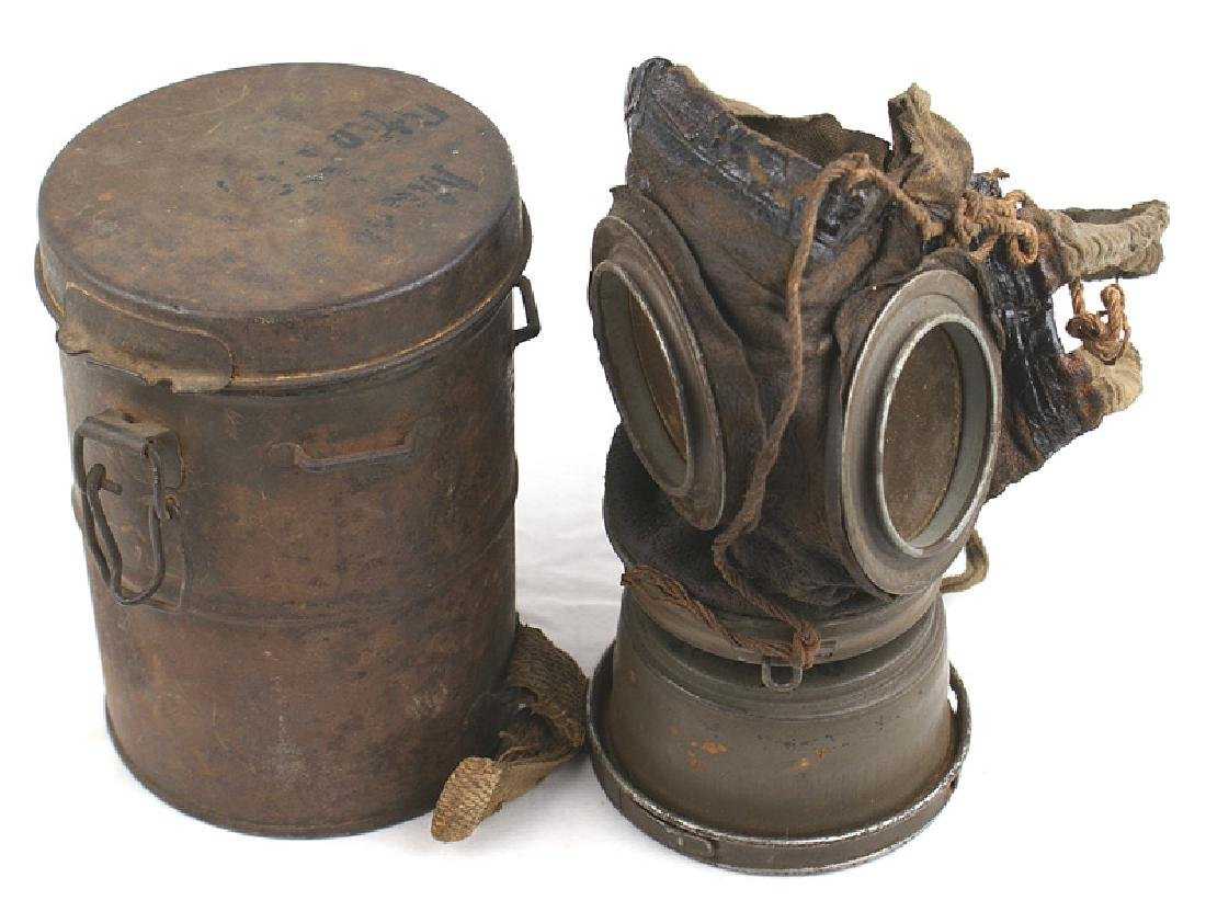 German WWI gas mask with canister