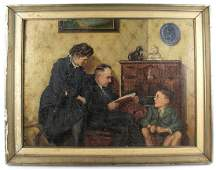 German WWII propaganda oil painting family