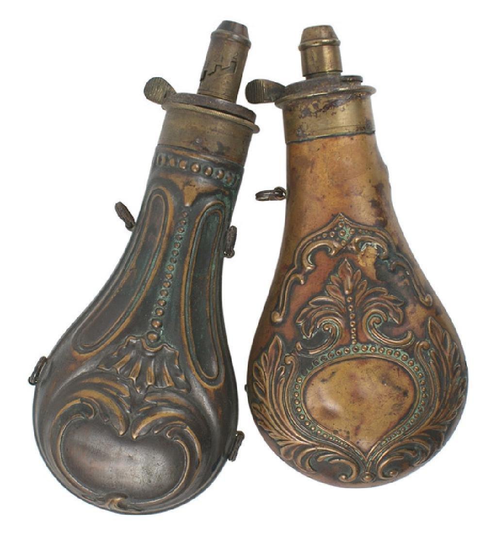 Lot of 2 19th Century copper powder flasks