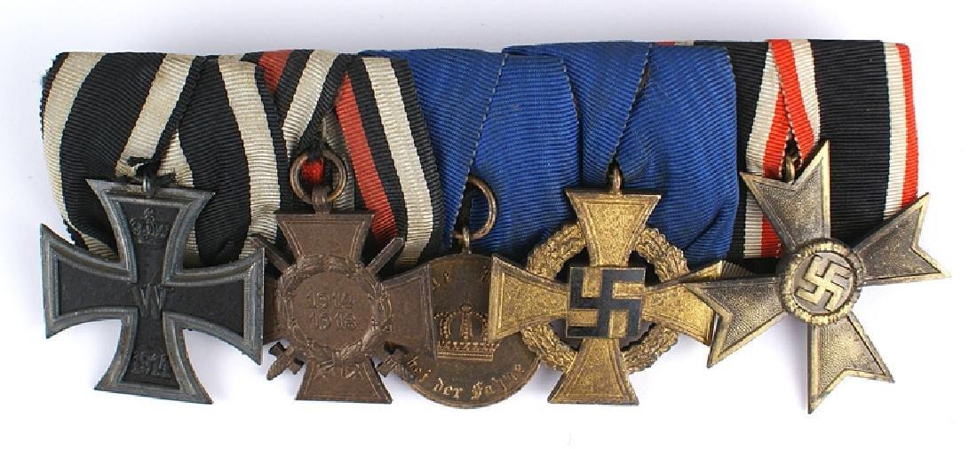 German WWII medal bar Iron Cross Loyalty KvK