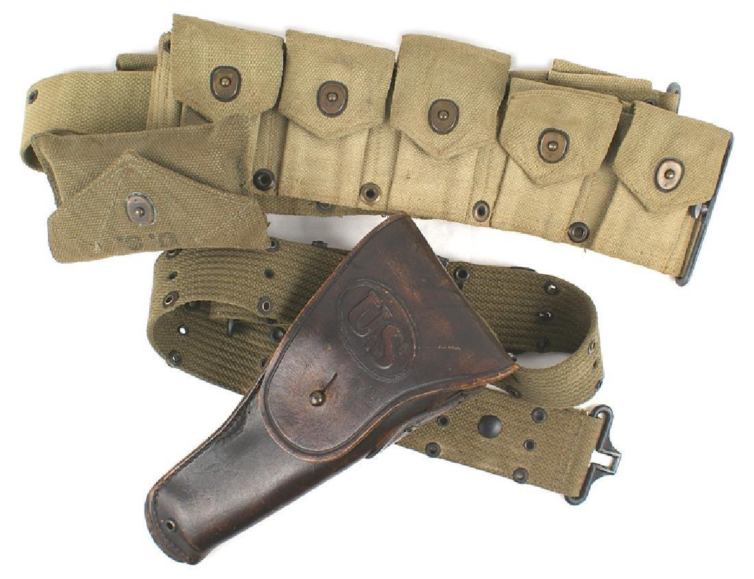 Lot of 2 US WWII web pistol belts