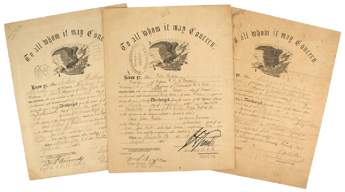 Lot of 6 Civil War Discharge Certificates