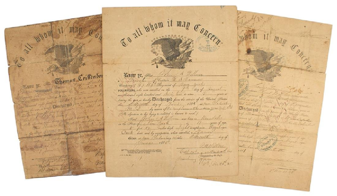 Lot of 6 Civil War Discharge Certificates - 2