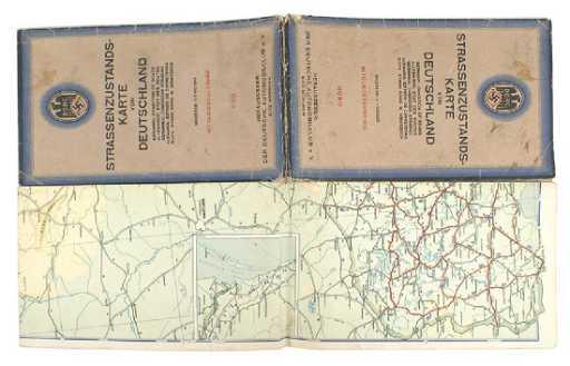 German WWII 1938 Automobile Club road map