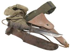 US Marine WWII combat rig holster knife