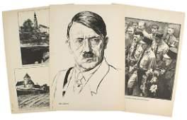 German WWII Adolf Hitler related drawn prints