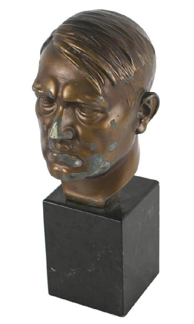 Bronzed spelter German WWII Hitler head