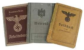 Lot of 3 German WWII ID books