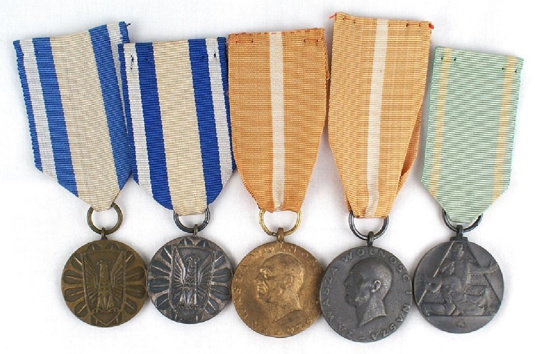 Lot 5 medals Polish Medal of Merit Veterans