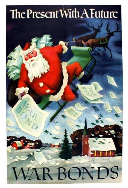 US WWII posters WAR BONDS Santa Claus etc