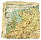 US WWII Army Air Force silk escape map HOLLAND
