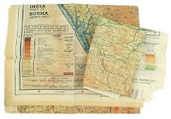 Lot of 2 US WWII Army Air Force silk escape maps