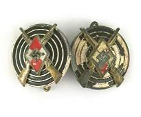 2 German WWII Hitler Youth Marksman Badges