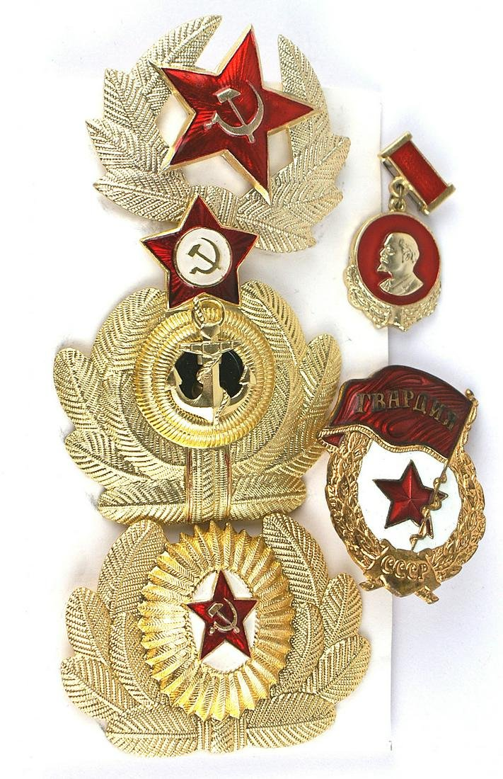 Lot of 3 Soviet gilt officer cap wreaths
