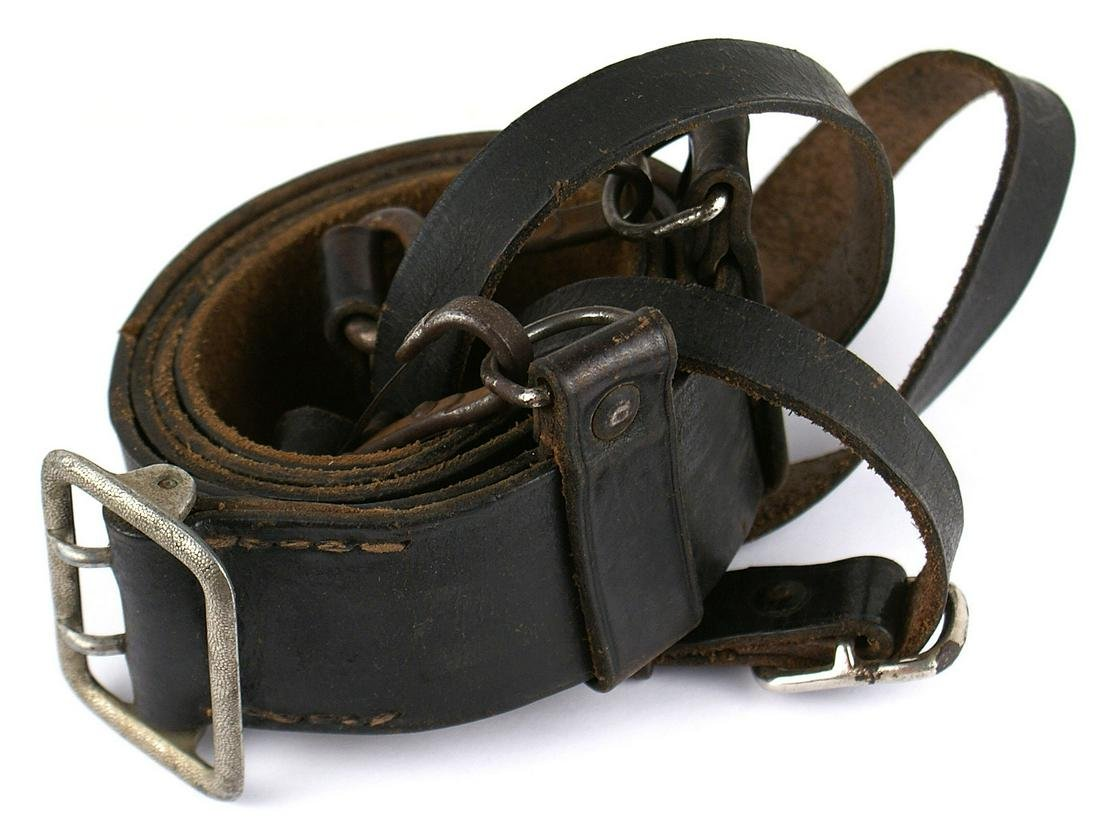 Early German WWII SS black leather belt and cross strap