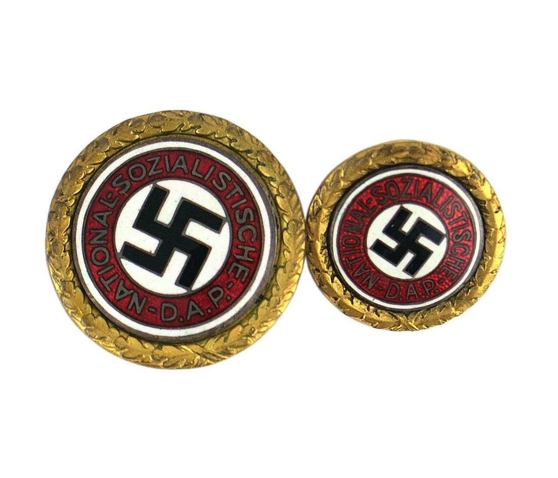 Pair German WWII NSDAP Gold Party Badges