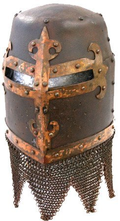 """1: Antique copy of a German """"Great Helm""""."""