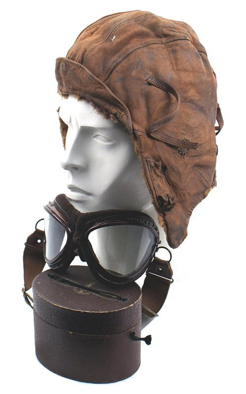 504: Japanese WWII Navy pilot helmet and goggles