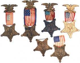 Lot Of 6 Civil War GAR Membership Badges