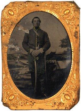 Civil War Tintype Cavalry Trooper With Sword