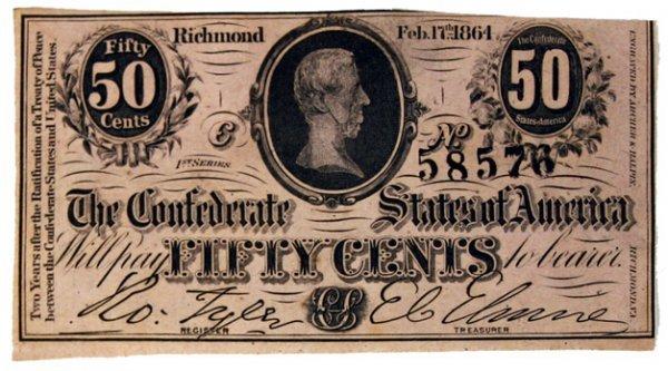 124: Civil War Confederate 50¢ bill