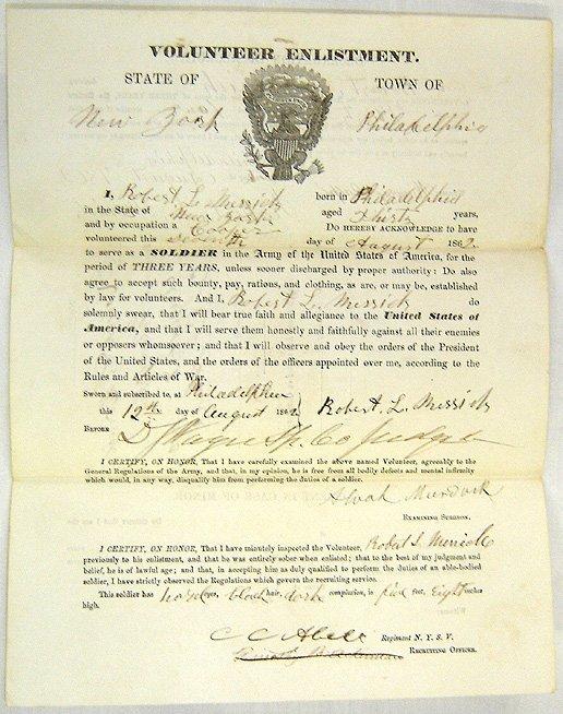 125: Civil War VOLUNTEER ENLISTMENT document
