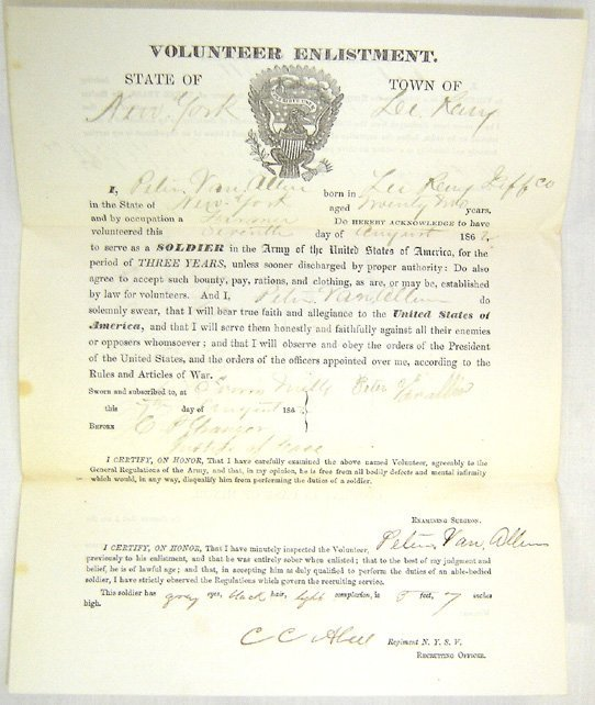 126: Civil War VOLUNTEER ENLISTMENT document