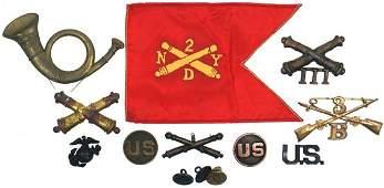 203 Lot of Civil War WWI WWII US insignia
