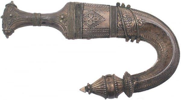 """21: Arab silver mounted """"Jambiya"""" dagger"""