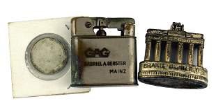 German WWII lot Brandenberg Gate lighter coin