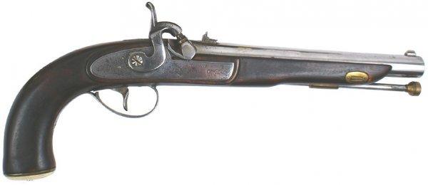 9: American made single-shot percussion pistol