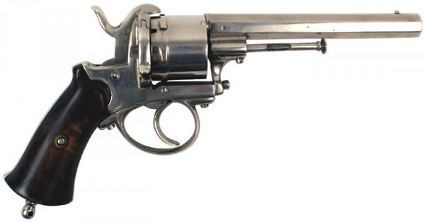 13: Nickel plated Belgian pin-fire revolver