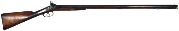 21: English double-barrel percussion shotgun