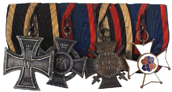 20: German WWI 4 medal bar:  1914 Iron Cross Oldenburg