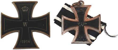 21: Lot of 2 1914 2nd Class Iron Cross sweetheart devic