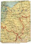 957 US WWII silk escape map GERMANY HOLLAND