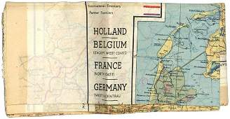 958 US WWII silk escape map GERMANY HOLLAND