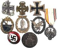 998 Lot of 9 reproduction German WWII medals and badge