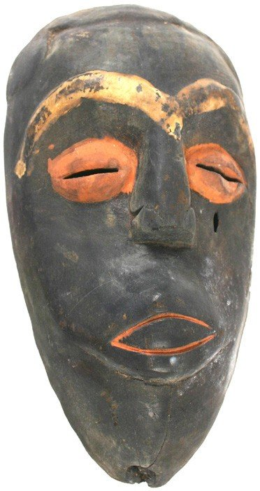 23: African Bakongo tribe carved wood mask 1890