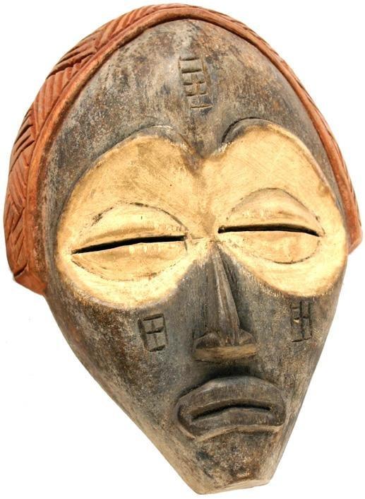 24: African Tchukue tribal mask Zaire/Congo