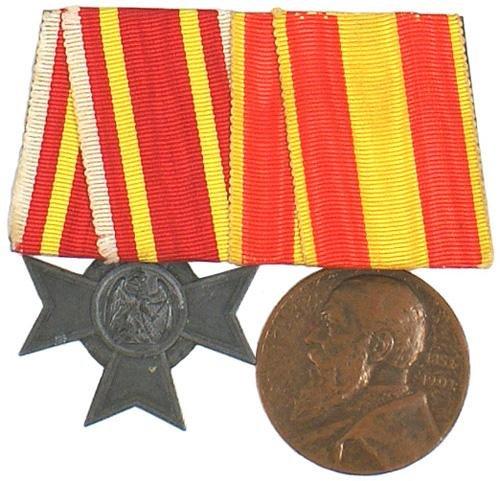 14: German WWI 2 medal bar War Merit Cross