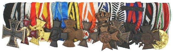 20: German WWI veteran 11 piece medal bar