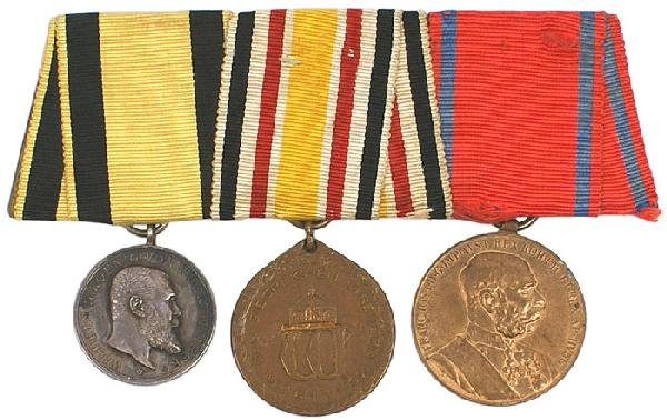 22: German WWI 3 medal bar Wurttemberg War Merit Medal
