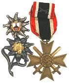 122 Lot of 3 German WWII War Merit Cross edelweiss etc